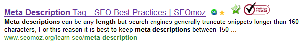 Search results in Bing showing meta description length