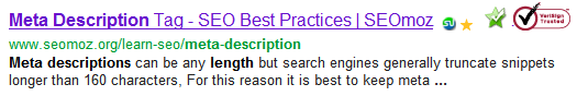 Search results in Google showing meta description length